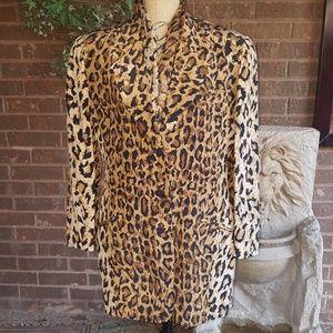 Saks Fifth Avenue 100% Silk blouse Jacket Size 10